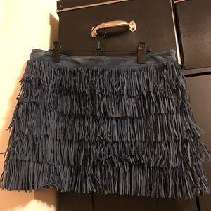 Michael Kors Navy Leather Fringed Mini Skirt